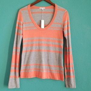 NWT {James Perse} Peach & Gray Stripe T-shirt